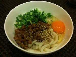 8月5日の夕飯、納豆ぶっかけうどん