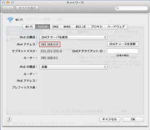 IPv4の部分を確認
