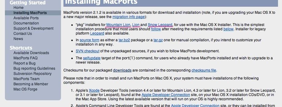 MacPortsをインストールする